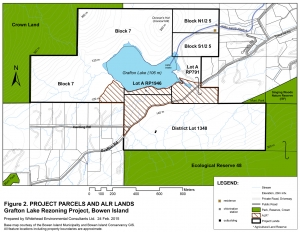 Map showing property lines of Grafton Lake Lands and neighbours