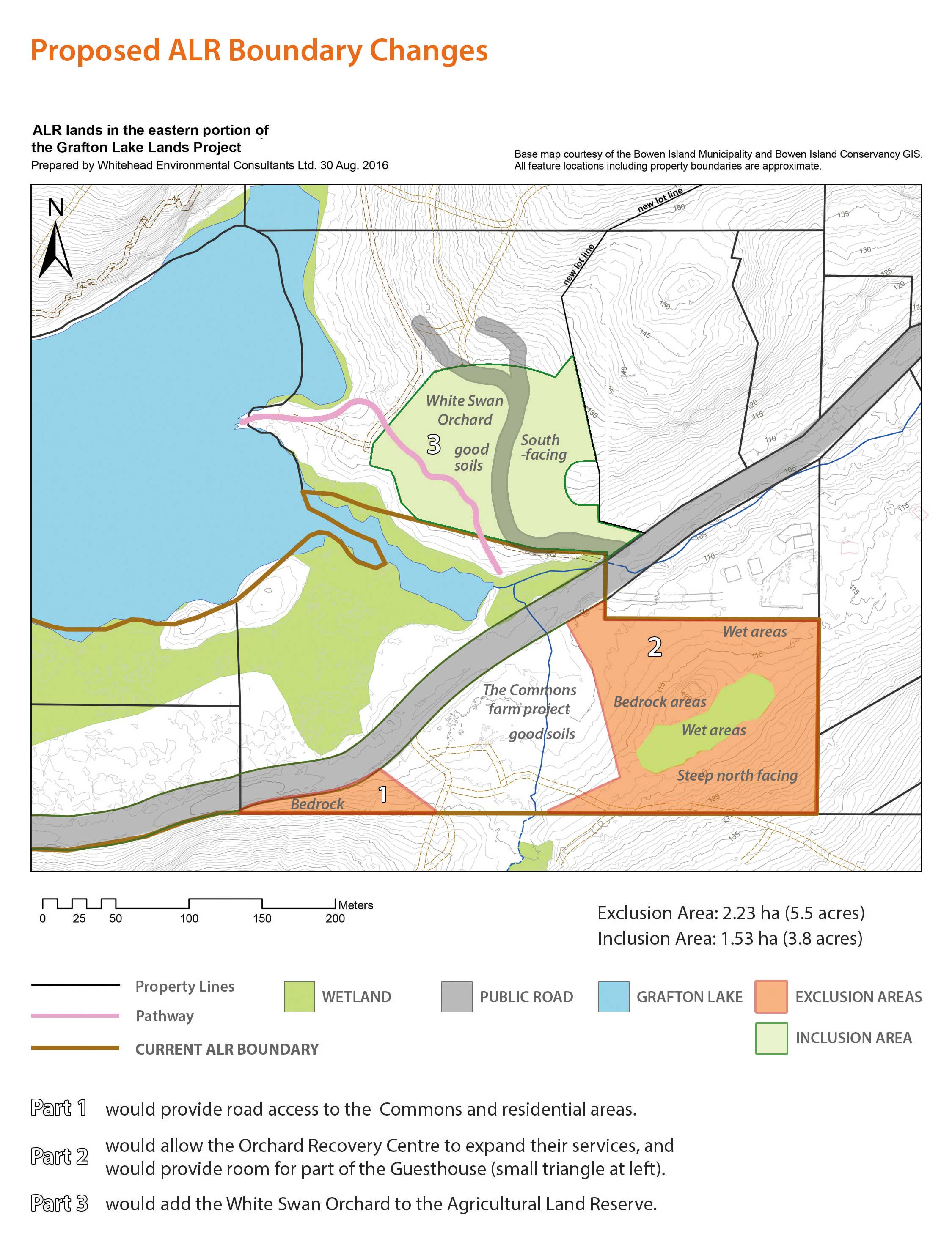 This map shows an area that would be excluded from the land reserve for the Orchard Recovery Centre, and an area elsewhere that would be added to the reserve.