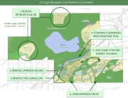 Map of the Grafton Lake Land Plan, highlight areas where main change requests would happen.