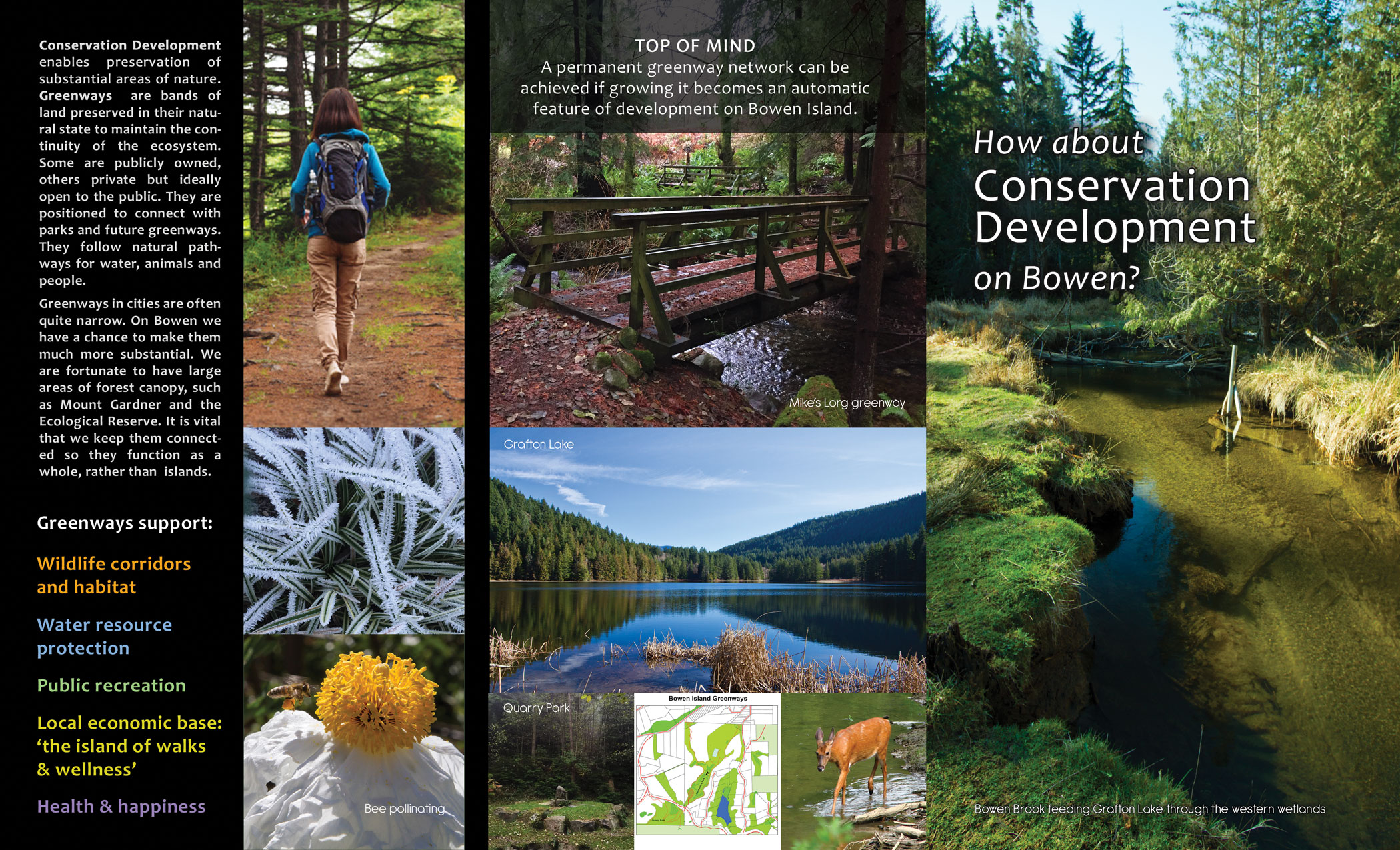 Outside of brochure featuring images of bowen island greenways.