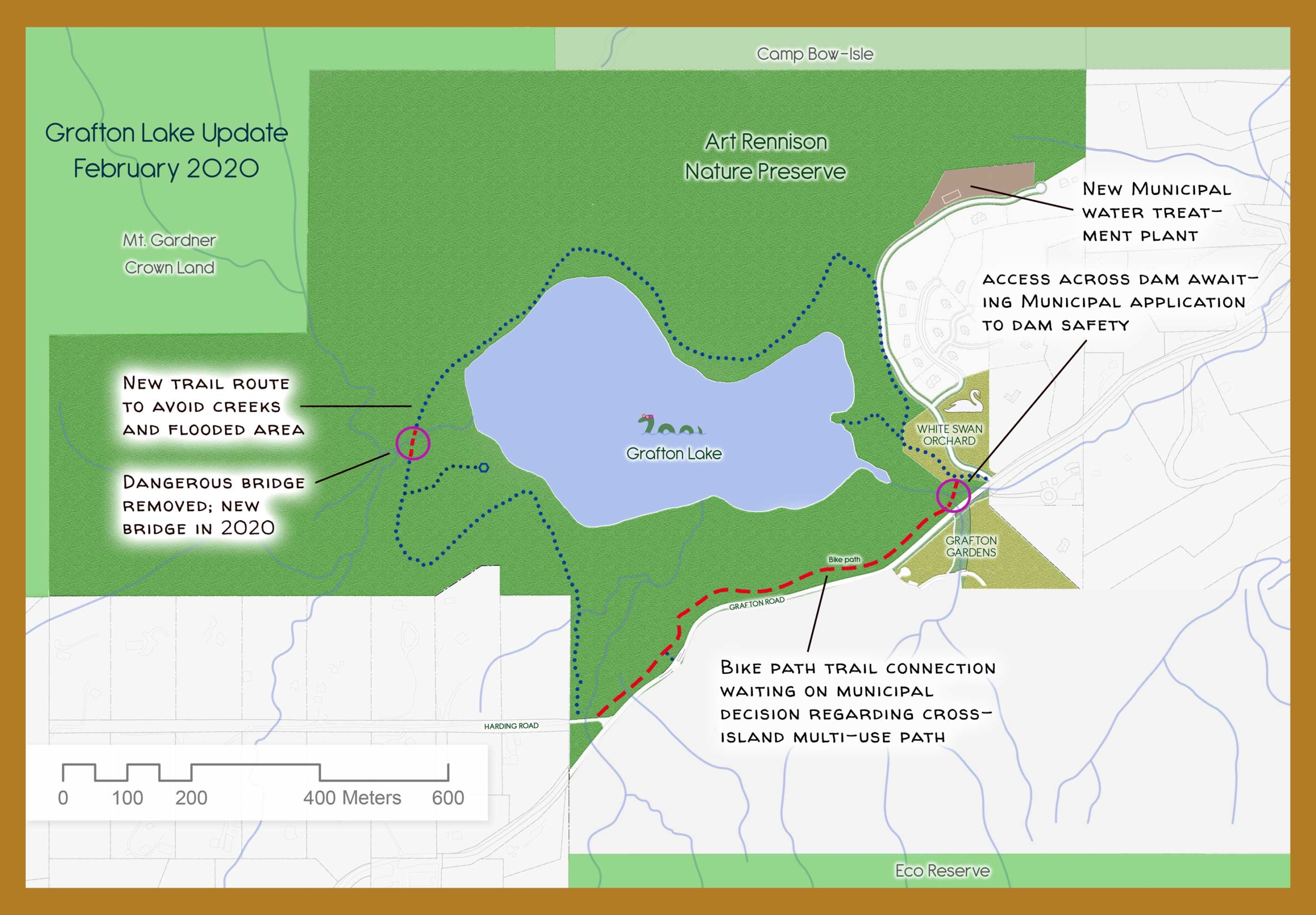 Map shows Grafton Lake area, including trail route around the lake. Two obstructions are shown: a missing bridge and a dam without an access route yet. Both will be linked in future. Also, a route along the road is shown in red as it has not yet been constructed.